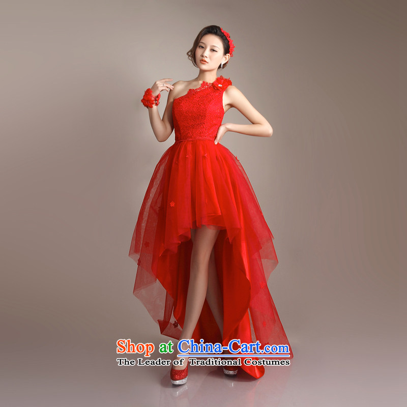 _Heung-lun, as high-end magenta lace shoulder dress bows before I got married after serving the bride short long small trailing 2015 new stylish wedding red S