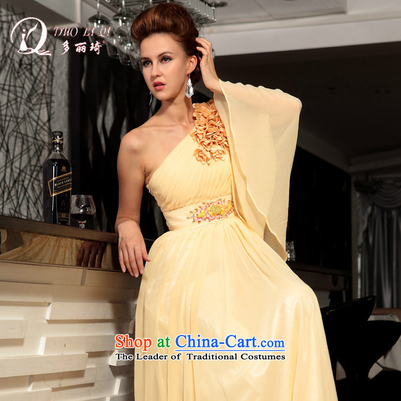 Doris Qi a shoulder yellow dress field long gown Yellow?M