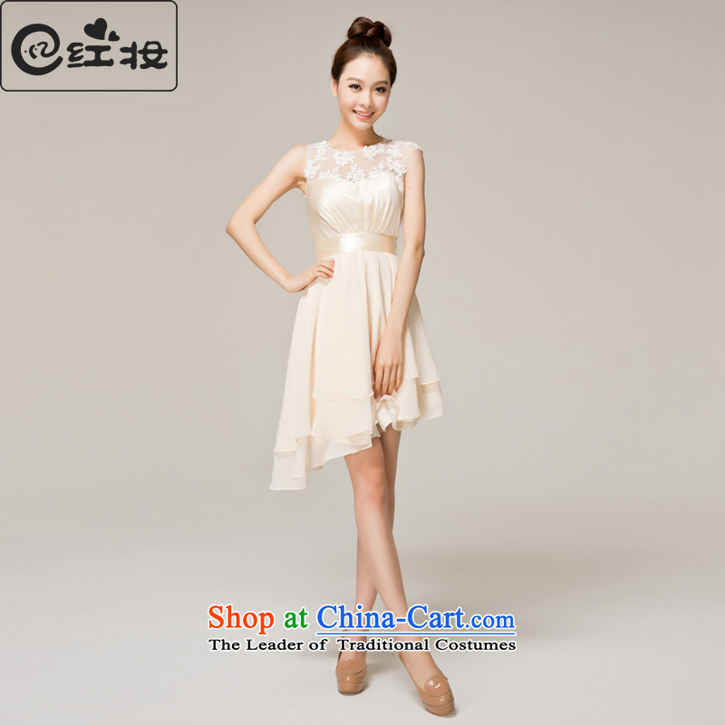 Recalling that the red makeup bridesmaid dinner dress short,?2015 New marriages wedding dresses skirt Fashion small lace bows L12155 service light yellow?XXL( has arrived)