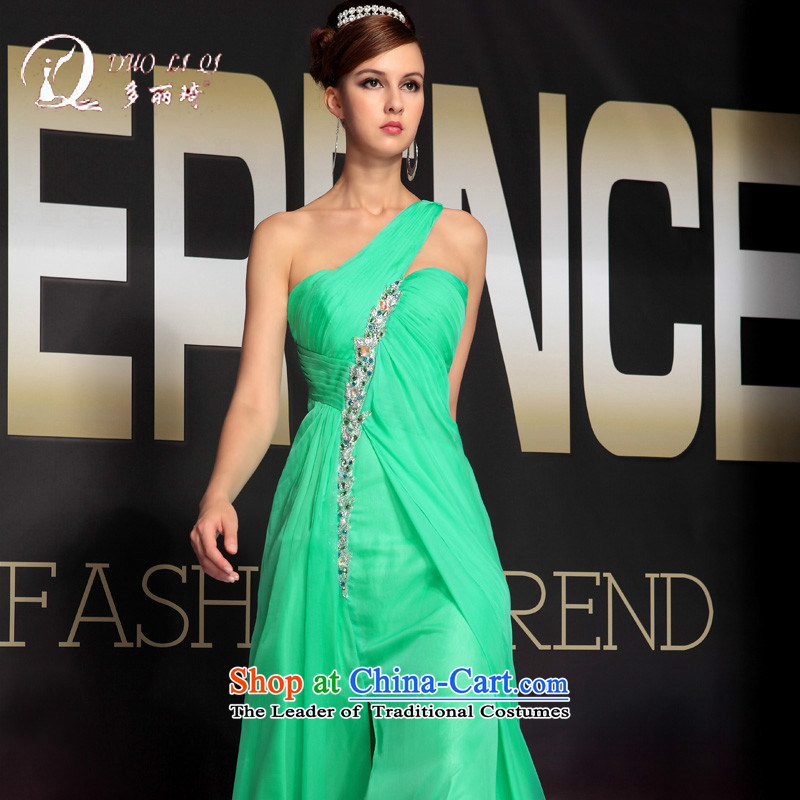 Doris Qi word elegant shoulder evening dresses and sexy single shoulder length of dress green M
