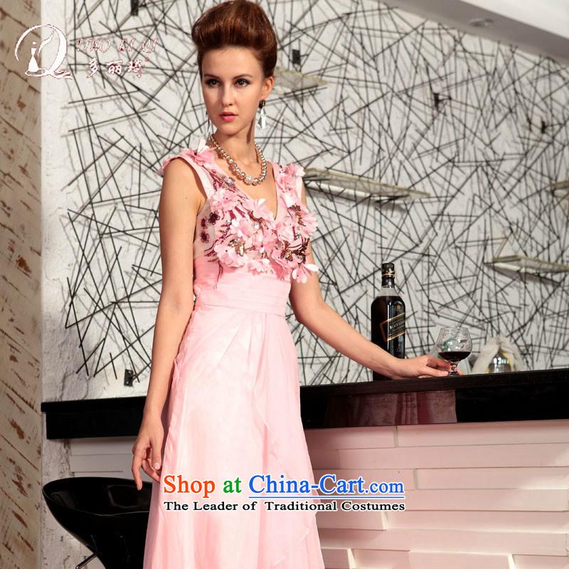 Doris Qi Chest Flower V-Neck pink bride bridesmaid pink dresses with聽S