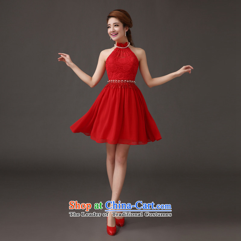 The feelings of Chinese?New Year 2015 yarn marriages small dress red wall also stylish short skirts wedding dresses toasting champagne evening dresses red?s
