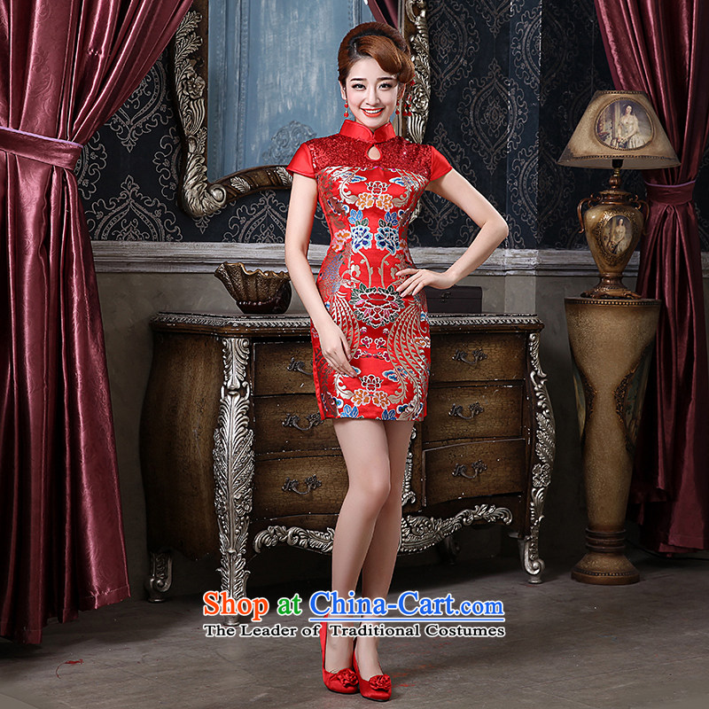 Qing Hua?2015 new spring yarn qipao bride red bows to the lift mast to Sau San replacing classical improved Yun Jin short of Qipao red as the size does not accept return