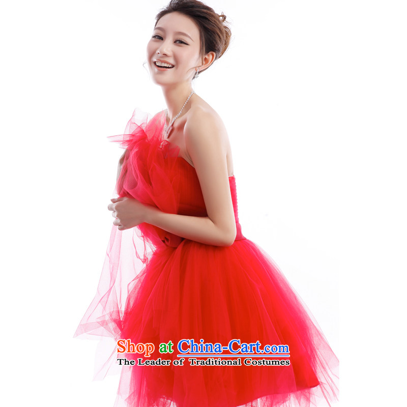 _Heung-lun's Health 2015 new betrothal wedding dress bridesmaid Service Bridal Services small dress skirts bows red anointed chest bon bon skirt short M