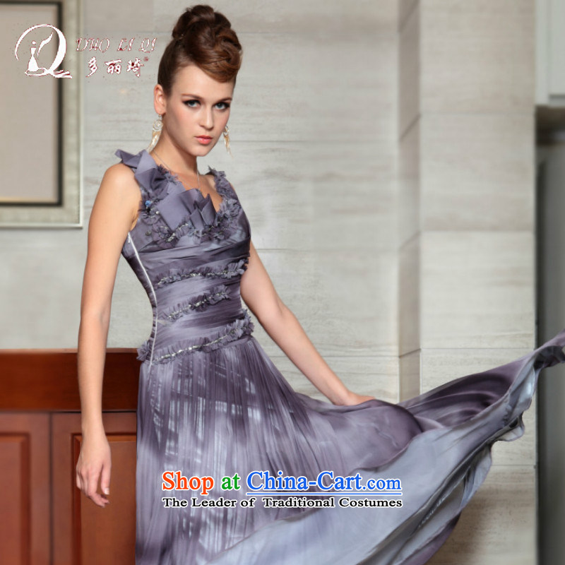 Doris Qi western dress Doris Qi 2015 NEW MODEL dress bows dress wedding dresses bridal dresses Light Gray?L