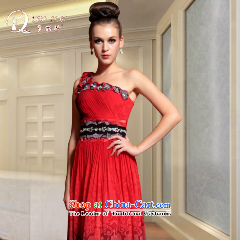 Doris Qi western dress qipao gown Annual Meeting banquet dress dress red聽L