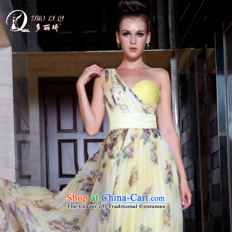 Doris Qi western dress to align the evening 2015 dinner wine service Korean light yellow?M
