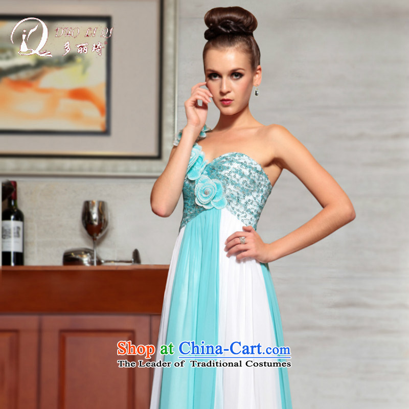 Doris Qi western dress bride back to the door of the Dress Short bridesmaid dress light blue?M