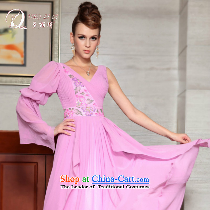 Doris Qi western dress bridesmaid services services deep V dresses and sisters dress long align to 2015 new pink?M