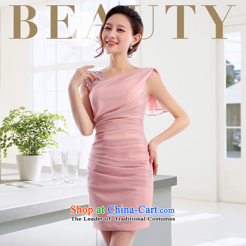 _Heung-lun's health spring and summer bridesmaid small Dress Short of women serving drink shoulders marriage evening dresses chiffon Annual Meeting 2015 package and skirt Fashion bare pink XXL