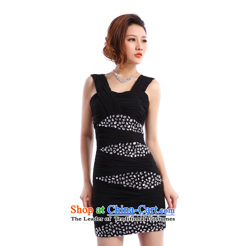 _Heung-lun's Health 2015 New Evening Dress Short bag and sexy nightclubs stylish evening dinner party annual small black dress聽M