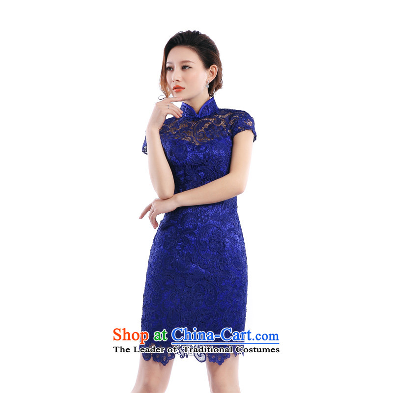 (Heung-lun's health lace daily evening dresses qipao skirt?2015 Spring/Summer Cocktail Reception Banquet short, small Chinese bride the lift mast dress blue?XXL