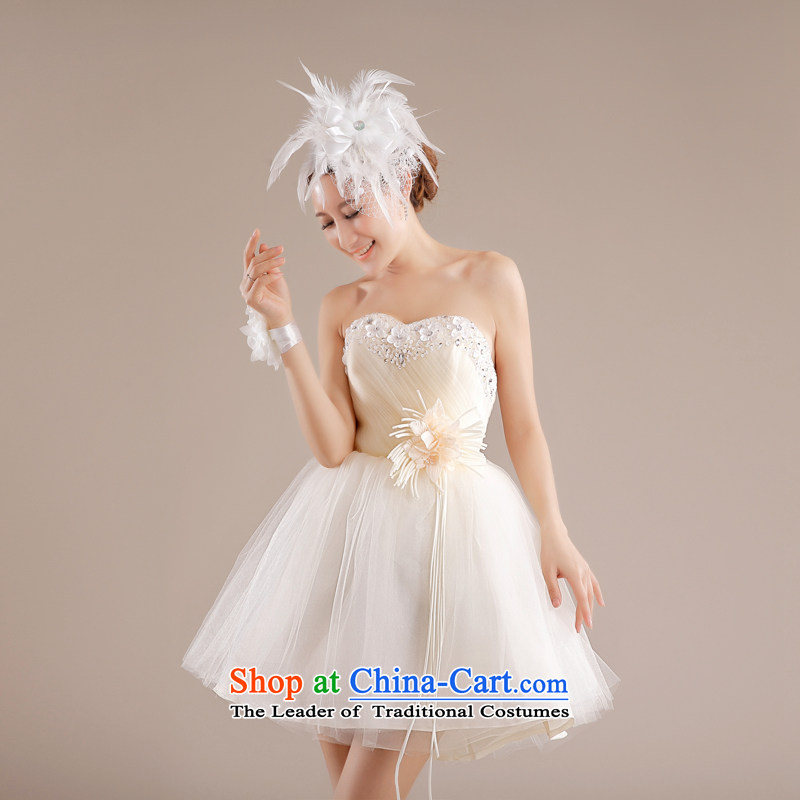 _Aaron's health-new betrothal wedding dress bridesmaid Service Bridal Services small dress skirts bows and stylish chest bon bon skirt short, champagne color聽XL