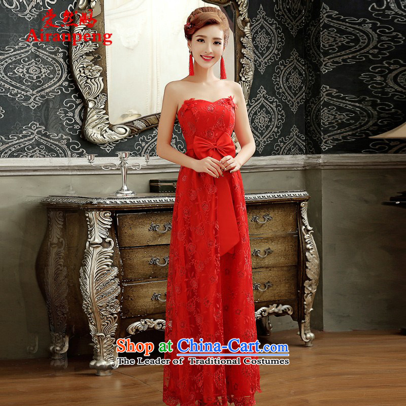 Love So Peng pregnant women serving the new 2015 bows Chun marriages long red short of small banquet evening dresses summer gown female depilation chest long?XL
