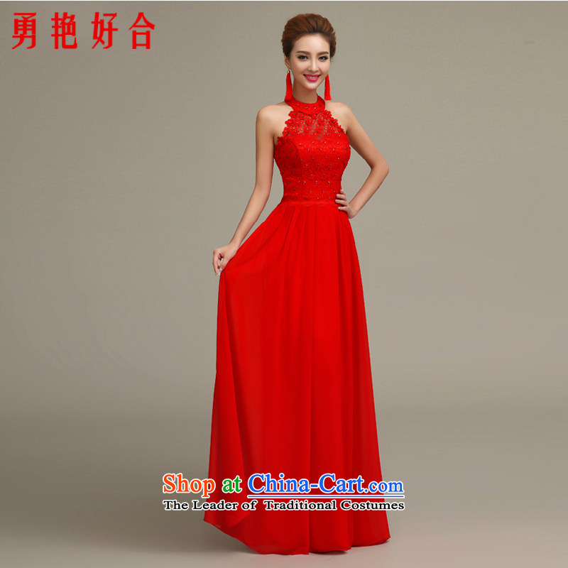 Yong-yeon and?2015 new bride bows services evening dresses spring and summer-length of marriage, also red yarn small dress bon bon skirt red long?XXL