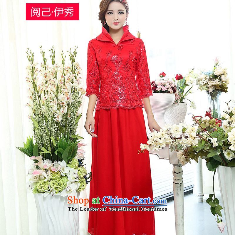 Read and el-soo 2015 Spring decorated in minimalist female Chinese wedding dresses bows dresses retro two kits 1509A long red S
