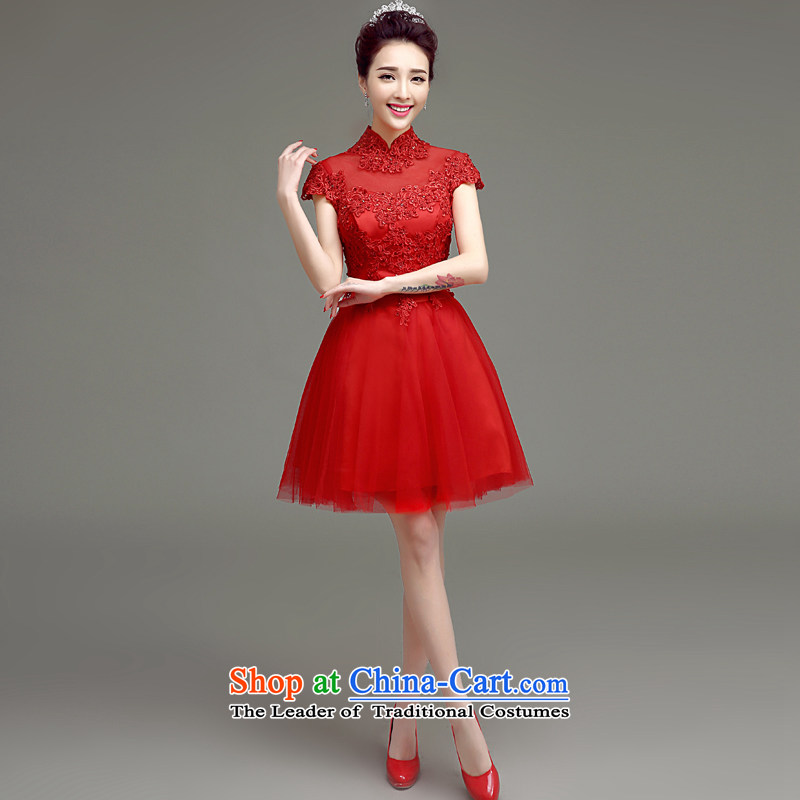 In accordance with the Netherlands varies with the bride short, bows to the new 2015 Spring/Summer stylish wedding dress qipao red video thin red short of large evening dresses red?m