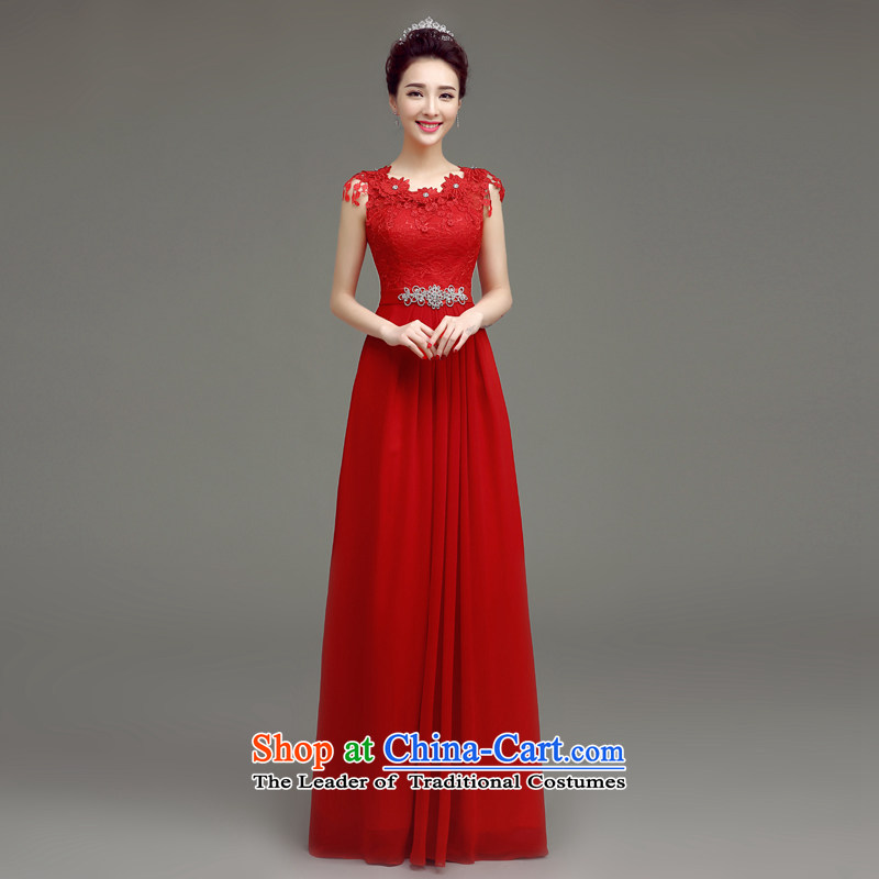 In accordance with the Netherlands varies with the 2015 Summer new bride bows Korean fashion clothing diamond slotted shoulder red long marriage dress Sau San Red S