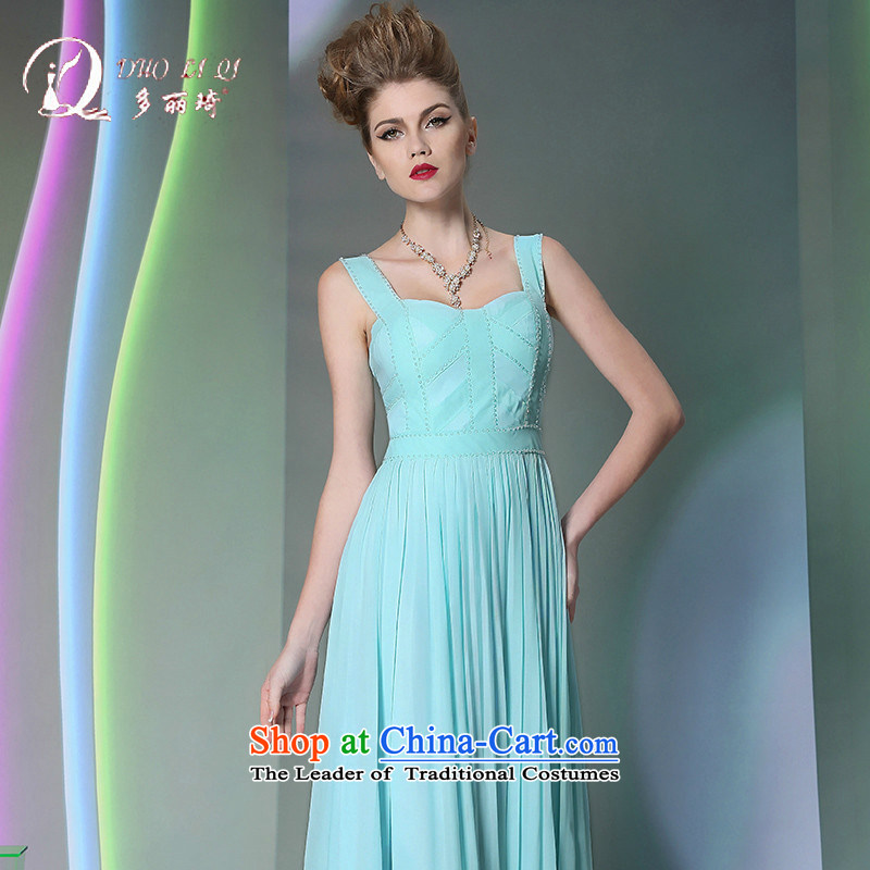 Doris Qi Western bridesmaid evening dress annual dinner dress?2014 Doris Qi sexy dress light blue?L