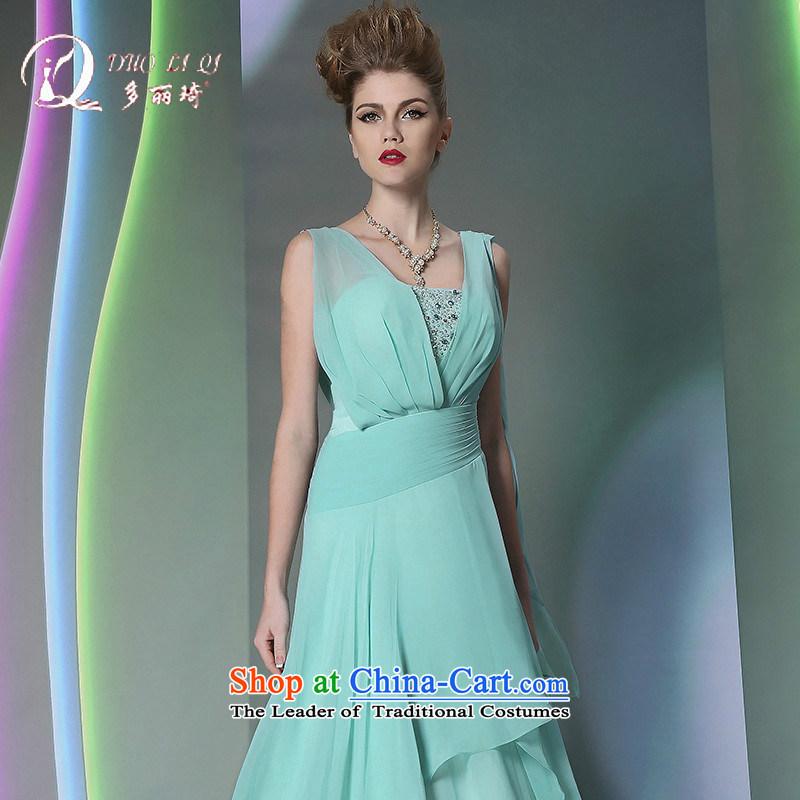 Doris Qi western dress�more than 2014 Lai Ki green silk dress elegant long light blue�XL