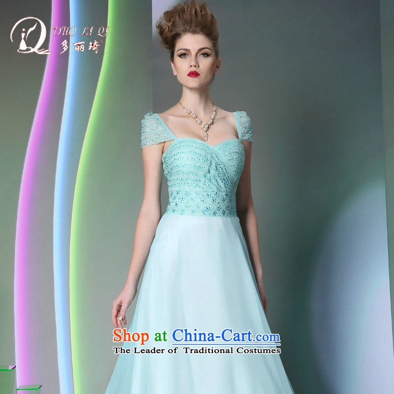 Doris Qi skyblue 2014 Doris Qi long shoulders annual reception banquet dinner dress autumn and winter new dress light blue?M