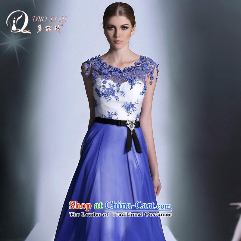 Doris Qi Bao blue chiffon package shoulder marriage bows dress banquet dinner dress blue�L