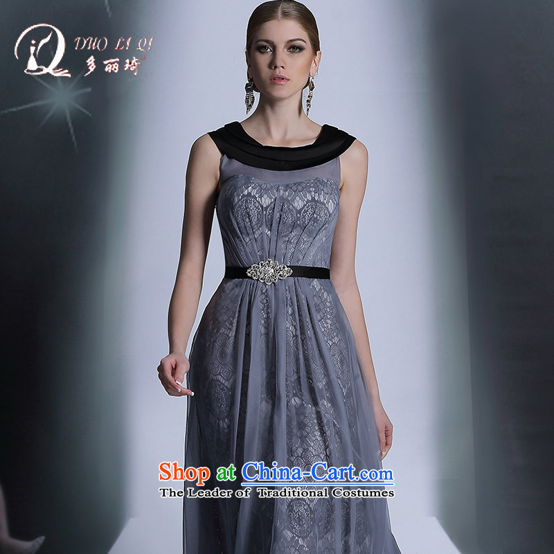 Doris Qi western dress in round-neck collar gray high loins length of evening dress professional dress light gray聽M