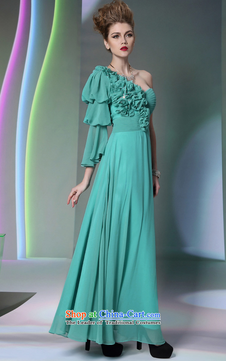 Doris Qi western dress green shoulder chiffon drape new wedding ...