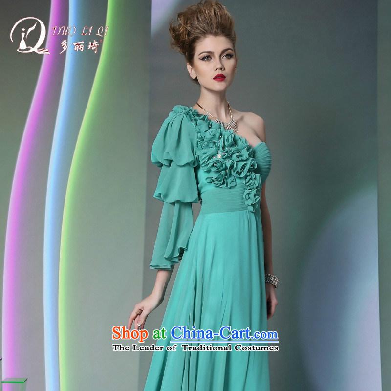 Doris Qi western dress green shoulder chiffon drape new wedding dresses, Blue�M