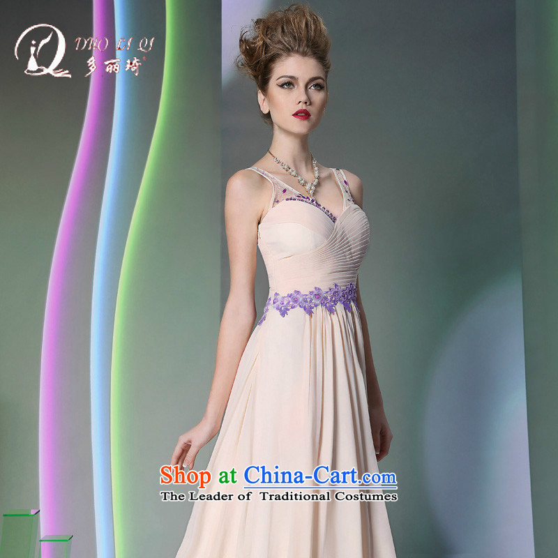 Doris Qi western dress聽2014 light pink strap evening dress western dress White聽XL
