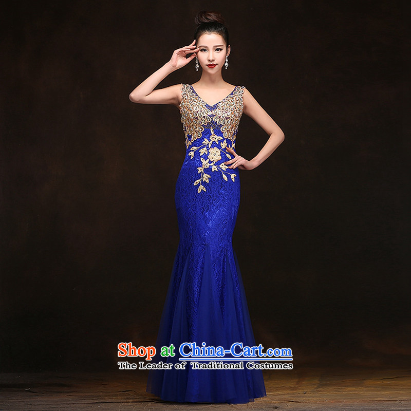 Hei Kaki?2015 new bows dress Korean crowsfoot shoulders evening dresses?V-neck under the auspices of the annual concert dress skirt? DJ06 banquet?Blue?M