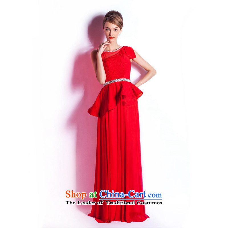 (Heung-lun's Health 2015 new wedding dresses fiery pre-sale stylish red long evening dinner drink marriages service reception red?XXL