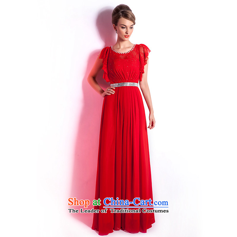 (Heung-lun's Health 2015 new red wedding dress bride bows services long large evening banquet Sau San Xia long skirt red female?M