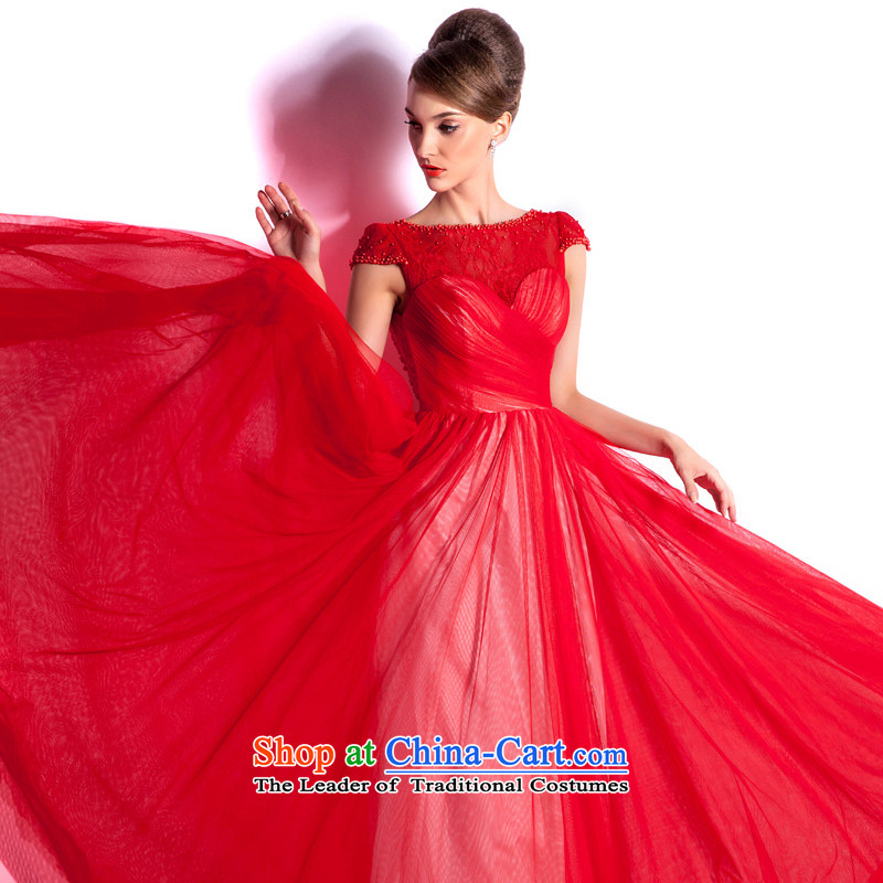 _Heung-lun's health and stylish spring and summer bride red bows services long 2015 new evening dresses, word elegant evening shoulder RED M