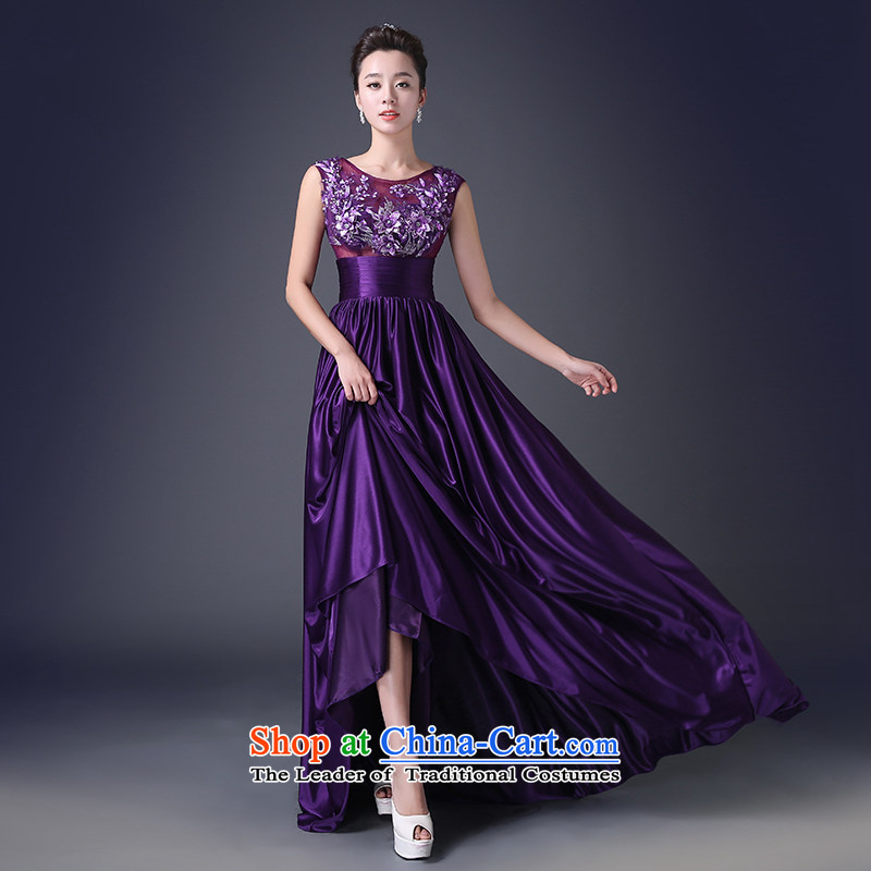 Noritsune bride 2015 long evening dress western style lace banquet dress a Field Service (half of the shoulder bows and three-dimensional, Mr. spend quality fabrics as purple L