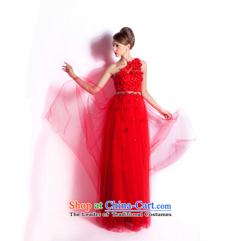 _Heung-lun's wedding dresses as 2015 Spring Fashion shoulder red wedding dress Bridal Services long night drink red XXL