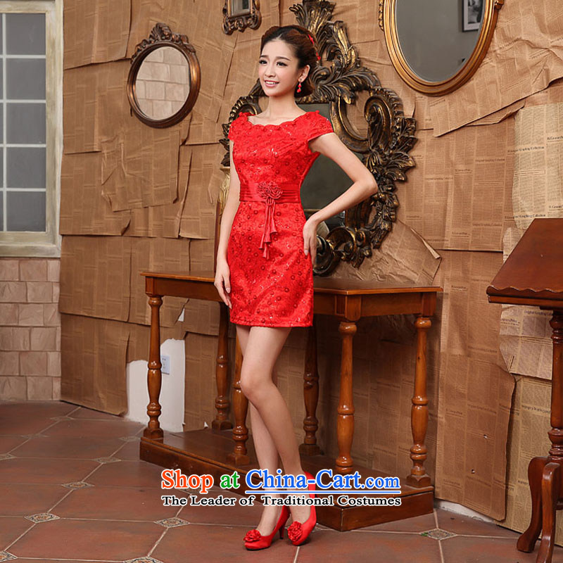 Qing Hua yarn Chinese Antique short of marriages cheongsam red lace bows services improved stylish dress spring red as the size does not accept return