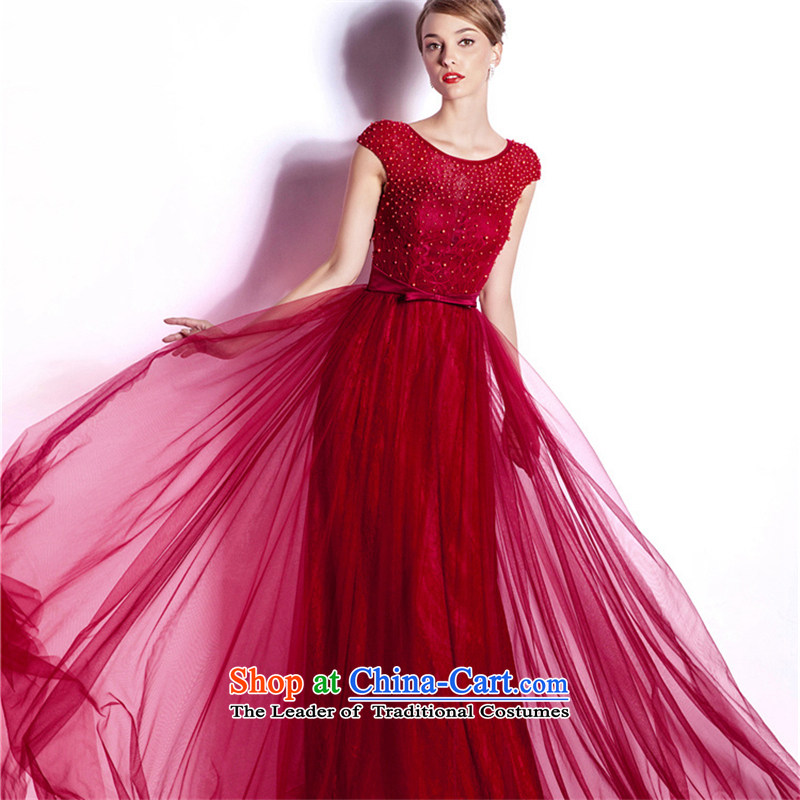 (Aaron's health-new bride bows services for high-end dress in Europe long word shoulder evening gatherings party wedding dress skirt wine red?XXL