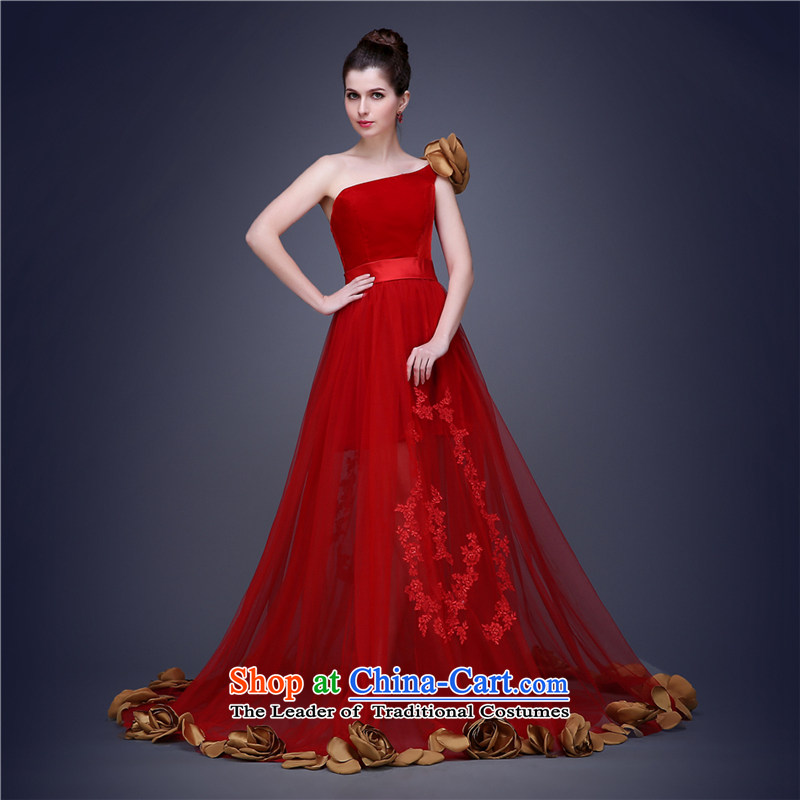 _Heung-lun's health services marriage red bows bride shoulder fashionable upper evening dresses high-end show photographic film floor theme clothing red聽XL