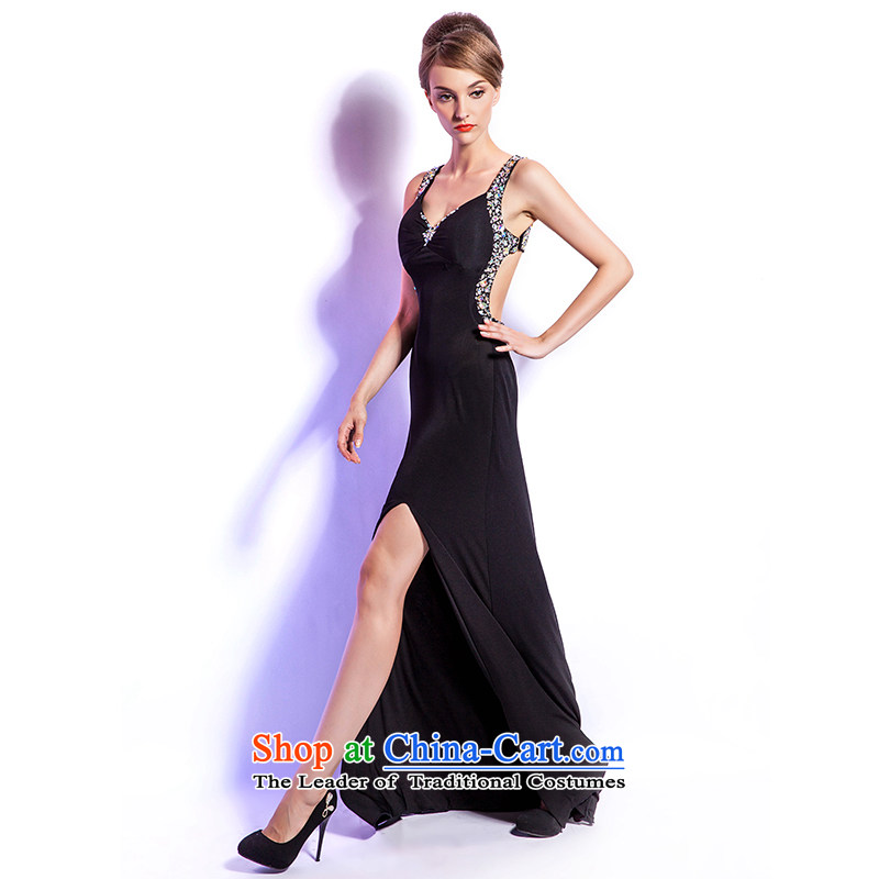 (Heung-lun's health Western style terrace open back fork black dress long banquet hosted the annual evening dress sense of humanity Dancing Nightclub show�XL