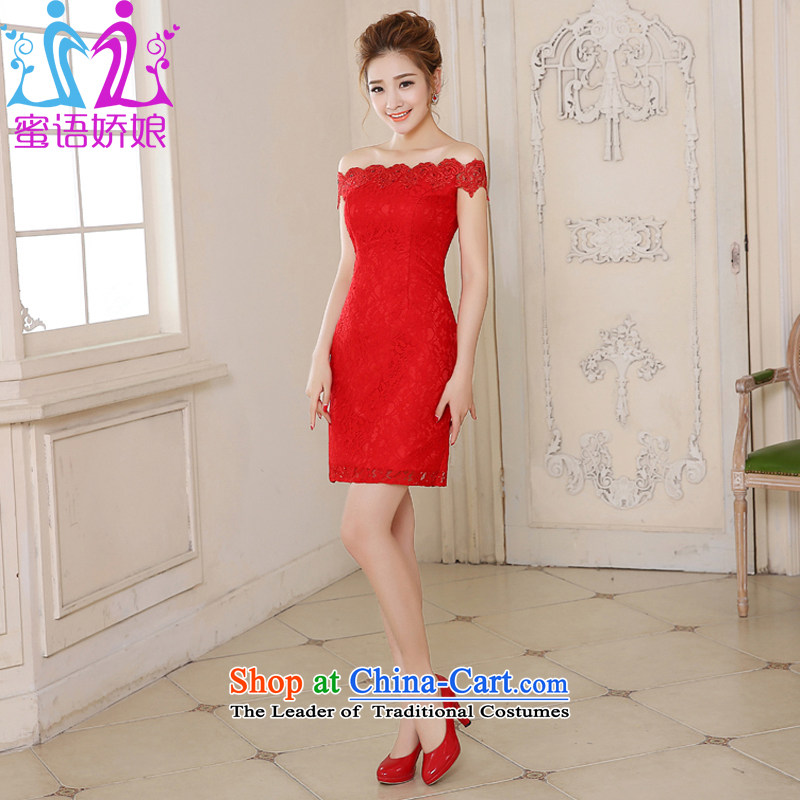 Talk to her new red brides 2015 short of qipao slotted shoulder lace crowsfoot dress bows to Sau San Xia Red XXL