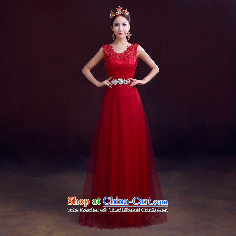 The dumping of the wedding dress bows Service Bridal 2015 Spring red long wedding dress shoulders bows to Sau San video thin wine red?XS