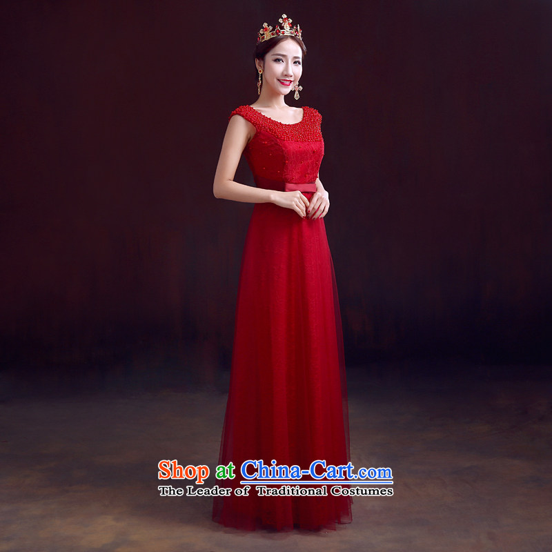 The dumping of the wedding dress bride services 2015 Spring drink red marriage gown shoulders bows to Sau San video thin wine red�L