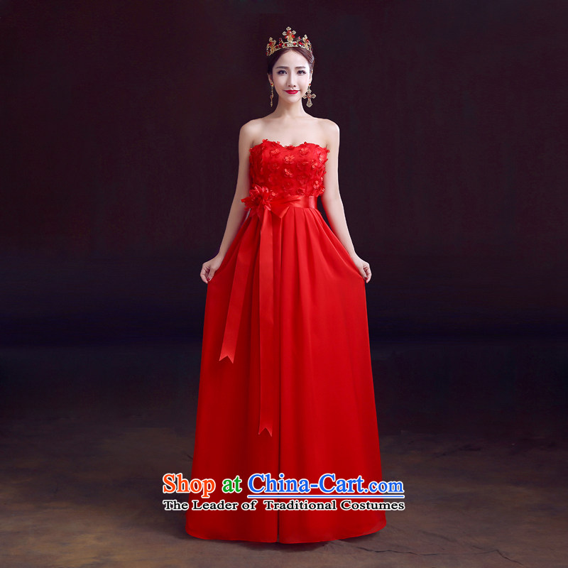 The dumping of the wedding dress bows Service Bridal 2015 Spring Red Long Chest dress Sau San video anointed thin marriage bows services red?L
