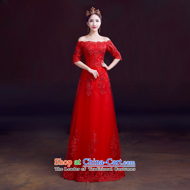 Red in the summer of 2015, serving drink one field shoulder brides cuff wedding dresses and slender, red video_?XL