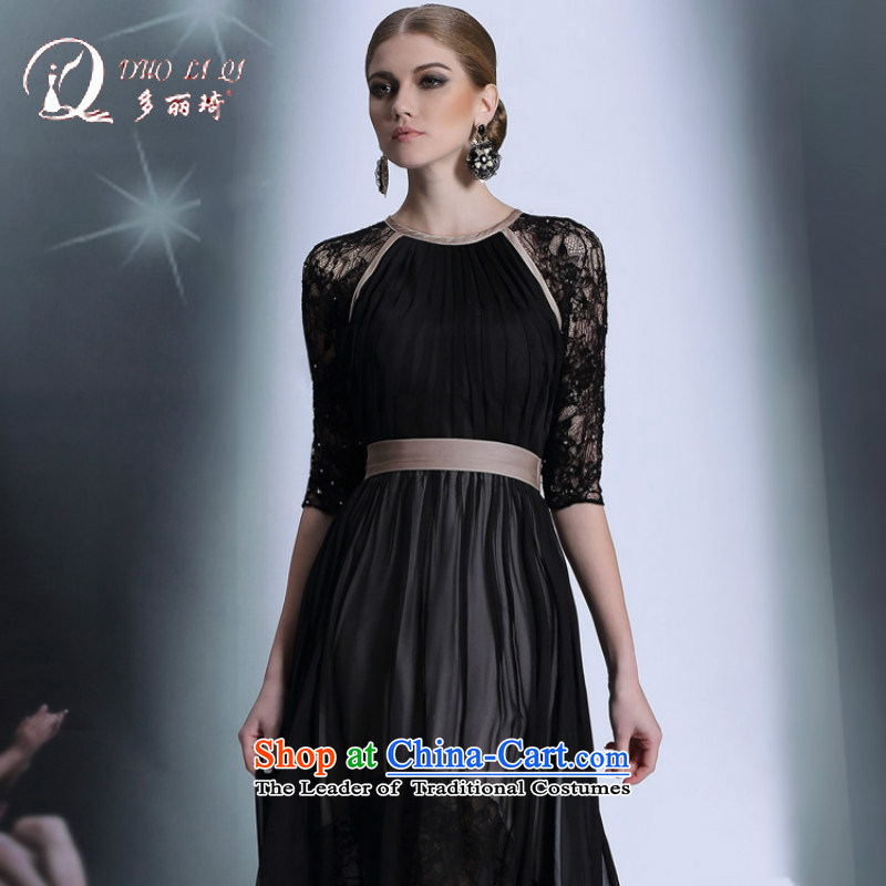 Doris Qi evening dress in Europe and the cuff lace evening dress black back and sexy evening show moderator dress Black聽XL