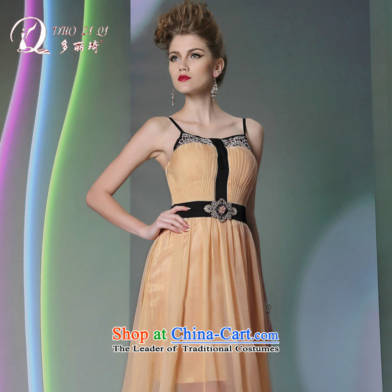 Doris Qi�2014 evening dresses Doris Qi straps fluoroscopy evening dresses yellow color and dress annual Sau San�S