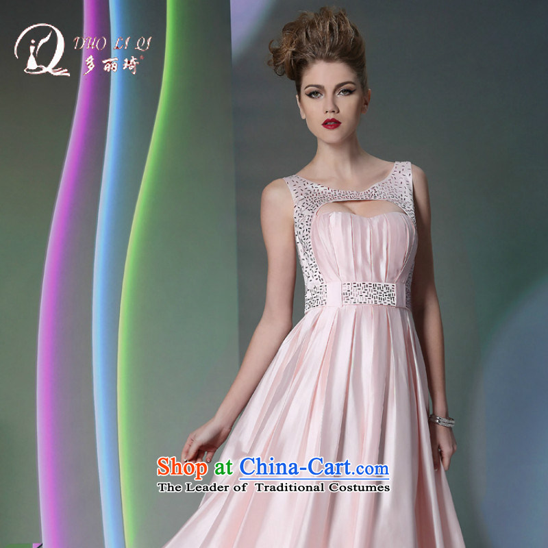 Doris Qi Club evening dresses on toner video white women dress of autumn and winter night wear pink S