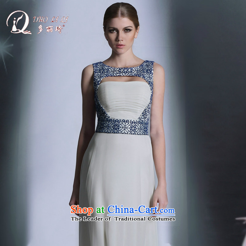 Doris Qi hot evening dresses porcelain evening reception at the annual meeting of the antique dresses professional white?L
