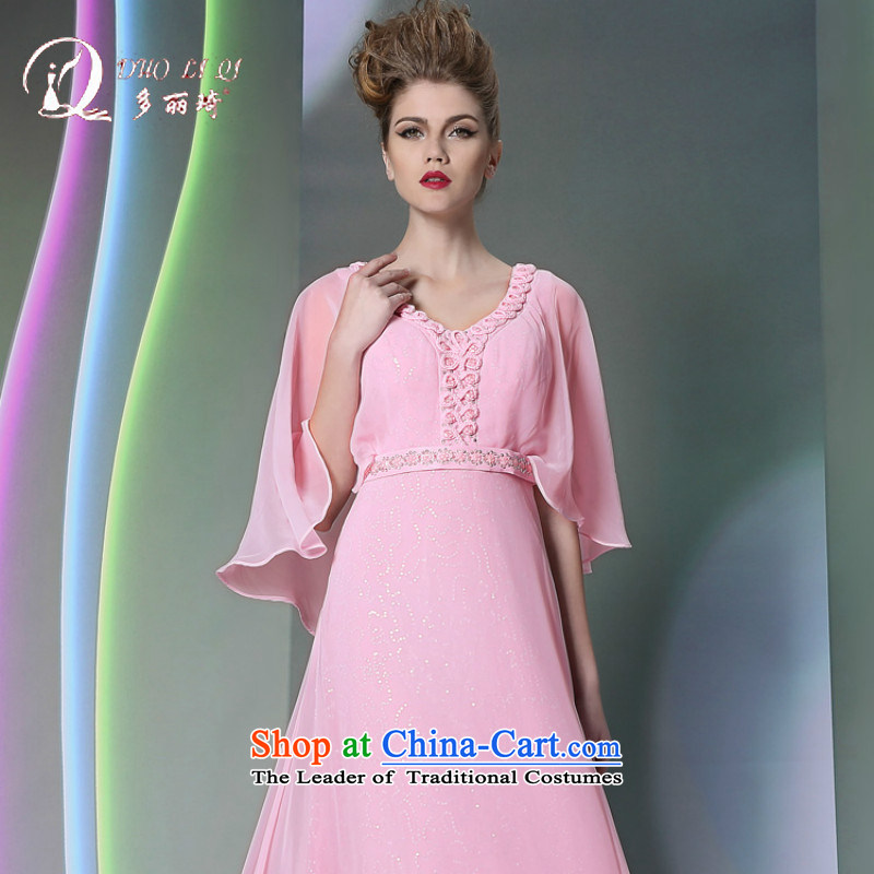 Doris Qi Bubblegum Pink flowers shawl evening dresses bridesmaid dress Hot Sales for 2014 small pink dresses embroidery marriage?L